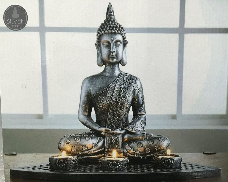 Pewter Buddha Statue Candle Set Includes 3 Candle Holders & Decorative Stones